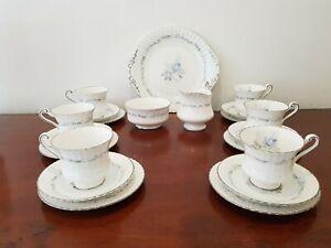 A Pretty 21 Piece Boxed Set Vintage Paragon China Morning Rose Tea Set Cups etc