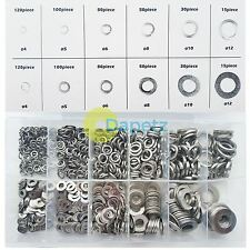 790 Piece Flat & Spring Stainless Steel Assorted Washers Set Rust Resistant New