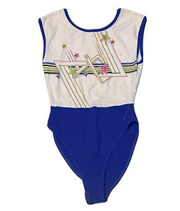 Vintage 80s 90s  Marika Women's Dance Workout leotard  Sz Large White/ Blue