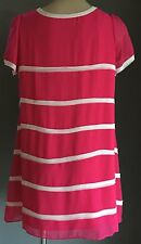 Beautiful Hot Pink & White Short Sleeve A-line Dress Size 16