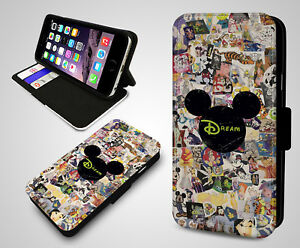 Walt Disney Characters Collage Doddle Sticker Leather Wallet Phone Case Cover