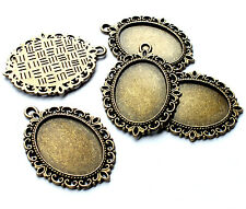 5 x Bronze Tone Oval Picture Frame Charms Cabochon Setting, 25mm Jewellery Craft