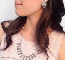 NEW Kendra Scott Angelina Bib Necklace Platinum Drusy & Silver $395 SOLD OUT