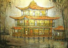 HUGE CHINESE TEMPLE ORIGINAL ACRYLIC ON FOIL PAINTING SIGNED