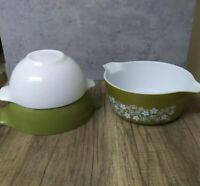 Pyrex 442 & 443 Mixing Bowls Cinderella Verde & White 475 Crazy Daisy Cassarole