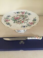 Aynsley Fine Bone China Pembroke Footed Cake Plate with Knife In Box!