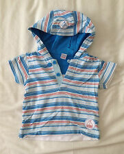 Boys Striped Hooded Short-Sleeved T-shirt - Size: 9-12 months