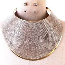 Rhinestone  Metal Armor Collar Necklace Gold Chain Crystal Choker Avant Garde