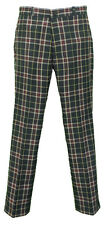 Relco Green Tartan Check Slim Fit Sta-Press Mod/Golf/Retro Trousers