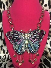 Betsey Johnson Butterfly Dreams HUGE Blue Jeweled Druzy Wing Gold Star Necklace