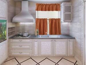 MOROCCAN SILKY HALF WINDOW SMALL CURTAIN PRINTED LINED BLACKOUT KITCHEN 3PC SET