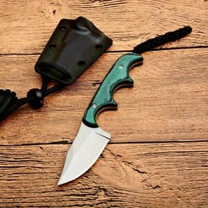 """Mini Clip Point Knife Fixed Blade Hunting Combat Tactical Survival G10 Handle 2"""""""
