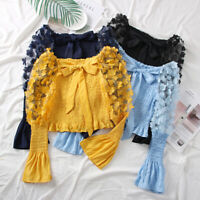 Women Off Shoulder Floral Blouse Top Lolita Sheer Puff Ruffle Flare Sleeve Thin
