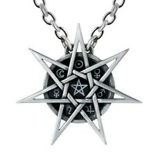 Elven Star Necklace Wiccan Septagram 7 Point Star Sigils Alchemy Gothic P878