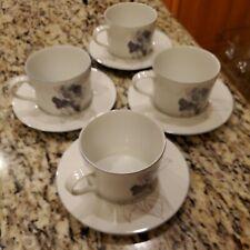 4 Block Spal HYDRANGEA Watercolors Coffee Cup Saucers Portugal MARY LOU GOERTZEN