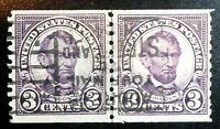Very Nice Pair Slogan Cancelled 1922 1925 Lincoln 3c Stamps Scott# 555 J150