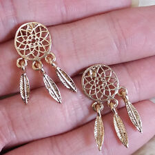New Womens Cute Metal Feather Charms Dangle Stud Pierced Small Earrings Fashion