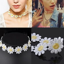 White Lolita Lace Choker BIB Cute Daisy Flower Yellow Collar Necklace Jewelry XT