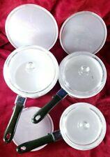 Set Of 3 Princess House Nouveau Cookware Pots w/ Handles & Glass & Plastic Lids