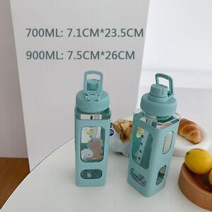 700/900ML Stroh-Wasserbecher Quadratischer Tragbarer Getränke-Reisetopf