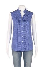 FOXCROFT Wrinkle Free Top 6 Blue White Fitted Button Down Shirt Sleeveless