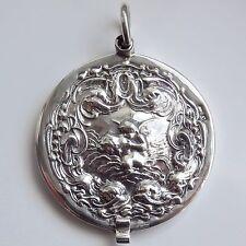 Splendido Periodo edoardiano Art Nouveau Sterling Silver Mirror Medaglione Ciondolo c1902