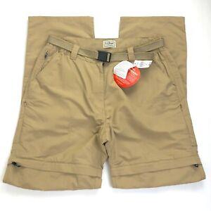 L.L. Bean NWT No Fly Zone Men's Convertible Zip Hiking Trail Pants Khaki Medium
