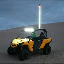 White Color 5 Feet LED Light Whip Lighted 4x4 ATV UTV Off-Road Sand Rail W/ Flag
