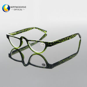 Retro Half Moon Spring Reading Glasses Single Vision Lenses Reader +1.00 to+4.00