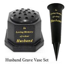 Husband Memorial Grave Set Vase Pot & Spike, Black & Gold Flower Flute Tribute
