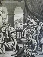 Queen Esther's Humility Court Scene 1690 Blome antique religious engraving