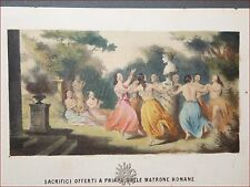 EROTICA - Tavola Acquerellata d'epoca SACRIFICI A PRIAPO 1860 Perrin Dufour