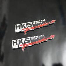 2x HKS Metal Emblem Sticker Badge Decal POWER and SPORTS Logo 3D wrc Racing Car
