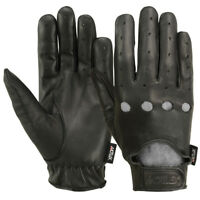 Driving Gloves Basic Bikers MRX Motorcycle Glove Finger Leather Black Mens New