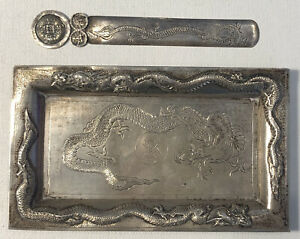 Antique Chinese Sterling Silver Dragon Tray & Letter Opener Zee Wo c.1900