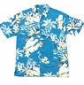 Cubavera Mens Shirt Medium Blue Hawaiian Floral Palm Short Sleeve Button Down