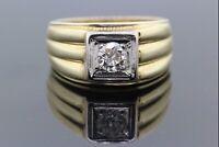 14k Yellow Gold & Diamond Mans Ring 0.50 CT G-H Si1-SI2 Size 8 3/4 11.1g #31487