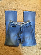 PARASUCO DISTRESSED STRETCH BOOT CUT JEANS WITH STUDDED WAIST...SIZE 29
