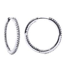 Hoop White Gold 14k SI2 Fine Diamond Earrings