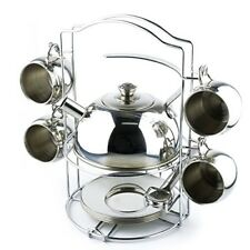 Kids Tea Pot Play Set Pretend Caddy Kitchen Gift 14 Pc Stainless Steel Toy New