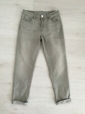 "M&S 'RELAXED SKINNY' JEANS SIZE 8 R L26.5"" TURN UP HEMS STRETCH DENIM LIGHT GREY"