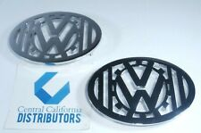 1949-1967 VW Bug Beetle CHROME Horn Grill Emblem w/ Gear Bars Logo Set of 2 PAIR