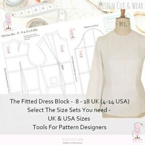 FITTED DRESS BLOCK- UK SIZES 8 -18 (USA 4-14) EU 36-46 SLOPER- DESIGNER PATTERNS