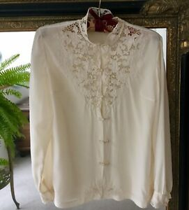 Vintage Hand Embroidered Cream 100% Pure Silk Shirt Blouse Peony Brand  Size 36