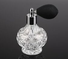 80ml Vintage Glass Clear Perfume Spray Bottle Atomizer Black Short Pump Gift US