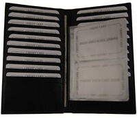 Mens Leather Long Credit Card Holder with Removable Inserts Black Wallet
