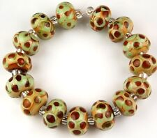 15pcs Lampwork Glass Beads Green Brown Dot Rondelle Jewelry Loose Spacer Craft