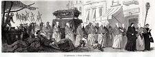 NAPOLI CAPITALE: Funerale Solenne con Confraternita. Costumi. Stampa Antica.1861