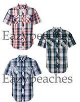 PEACHES PICK - PLAID Burnside Mens S-3XL Short Sleeve Button Shirt with Pockets