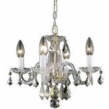CRYSTAL CHANDELIER GOLD CLEAR FOR DINING LIVING ROOM KITCHEN BEDROOM 4 LIGHT 15""